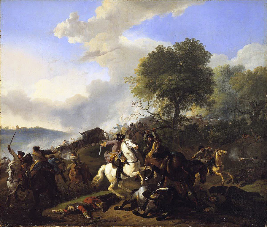 Cavalry battle: Battle of Lauffeldt 21st June 1747 in the War of the Austrian Succession: picture by Jan van Huchtenburg