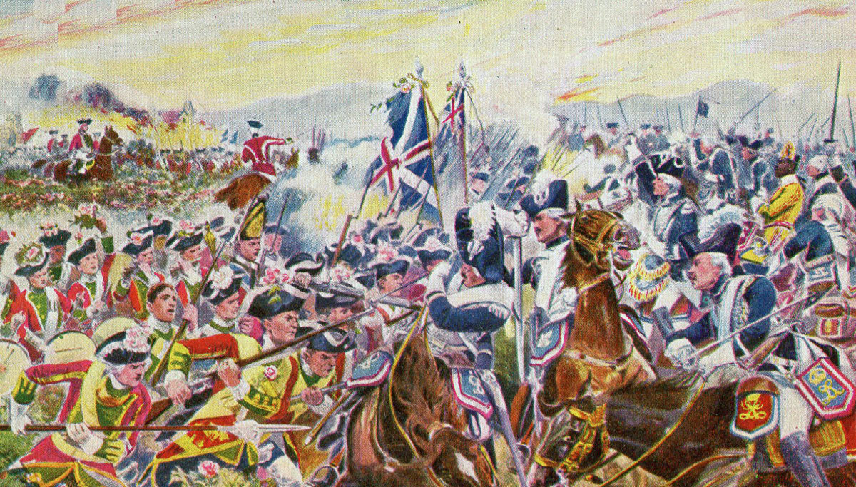 51st Foot attack the French Horse at the Battle of Minden 1st August 1759 in the Seven Years War