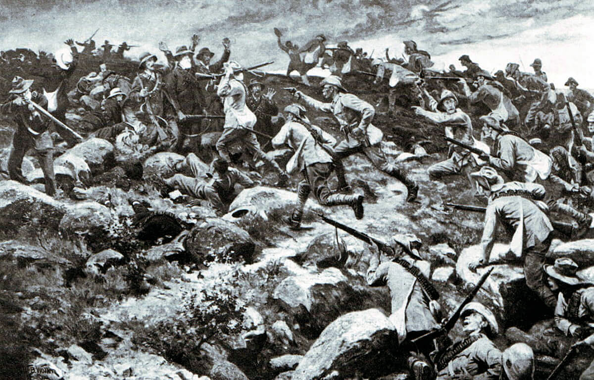 Imperial Light Horse attacking at the Battle of Elandslaagte on 21st October 1899 in the Great Boer War by William Barnes Wolllen