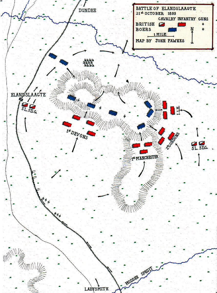 Map of the Battle of Elandslaagte on 21st October 1899 in the Great Boer War by John Fawkes