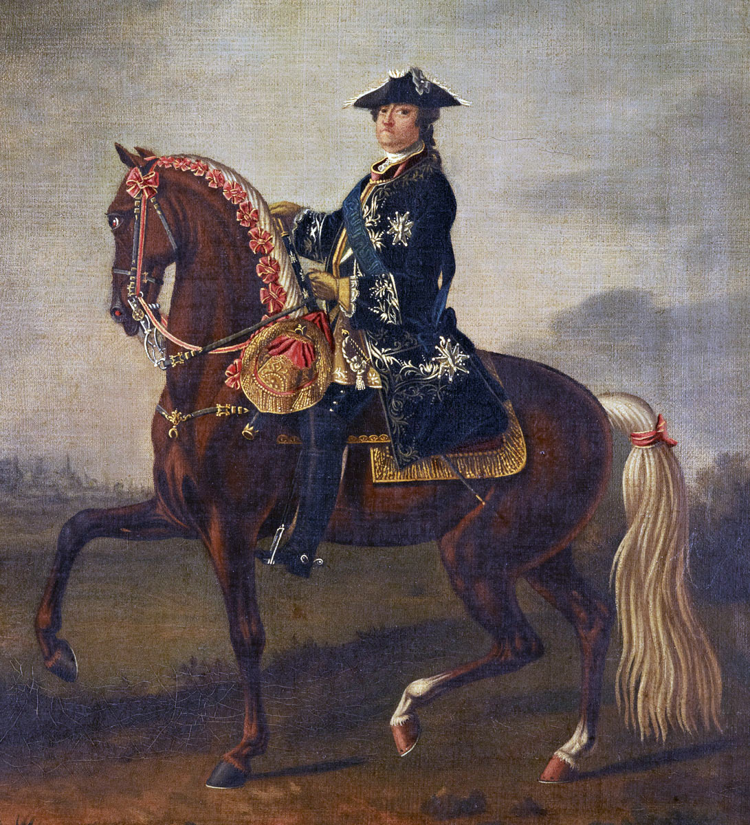 Marshal Maurice de Saxe commander of the French Army at the Battle of Lauffeldt 21st June 1747 in the War of the Austrian Succession: picture by David Morier