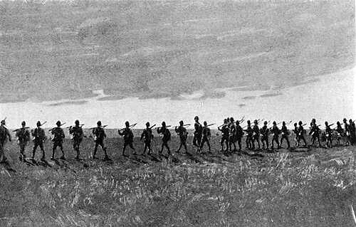 1st Devonshire Regiment advancing in open order at the Battle of Elandslaagte on 21st October 1899 in the Great Boer War