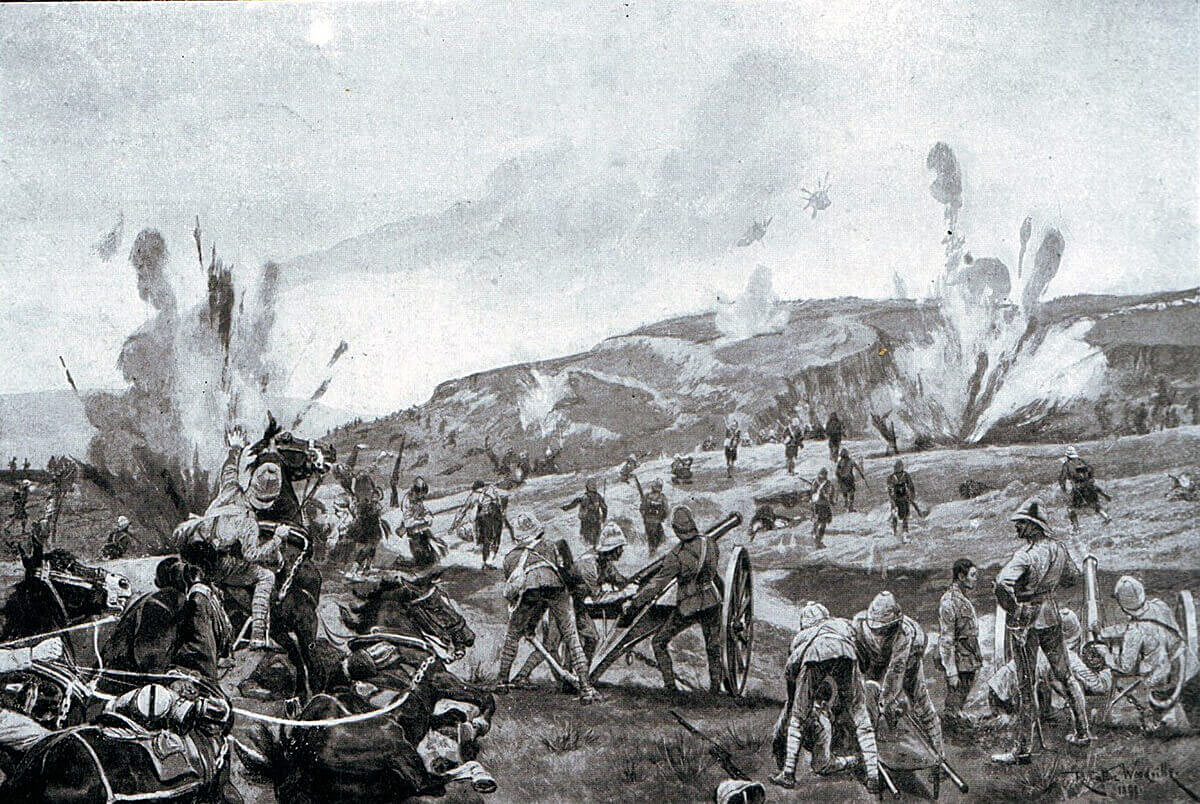 2nd Gordons attacking the hill at the Battle of Elandslaagte on 21st October 1899 in the Great Boer War