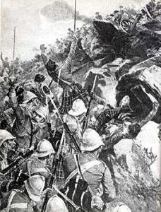 2nd Gordons storming the hill at the Battle of Elandslaagte on 21st October 1899 in the Great Boer War