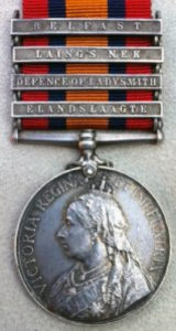 Queen's South Africa medal with clasp for the Battle of Elandslaagte on 21st October 1899 in the Great Boer War