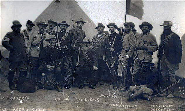 Commandant Kock and his staff. Kock commanded the Boer force at the Battle of Elandslaagte on 21st October 1899: one of his staff is a German officer, Count Zeppelin
