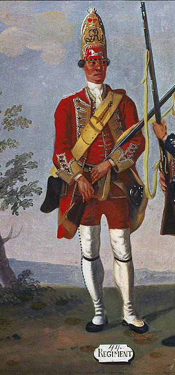 Grenadier of Colonel Sir Peter Halkett's 44th Regiment: Death of General Edward Braddock on the Monongahela River on 9th July 1755 in the French and Indian War