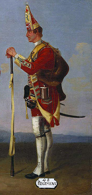 Grenadier of Colonel Dunbar's 48th Regiment: Death of General Edward Braddock on the Monongahela River on 9th July 1755 in the French and Indian War