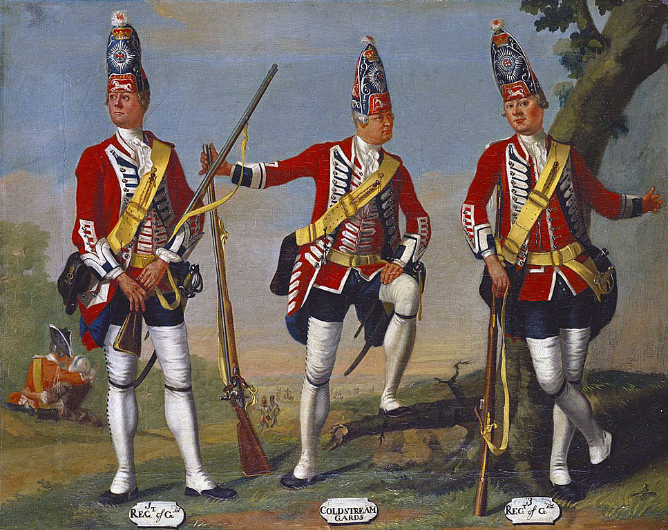 Grenadiers of the 1st, Coldstream and 3rd Foot Guards in1751: picture by David Morier: Death of General Edward Braddock on the Monongahela River on 9th July 1755 in the French and Indian War