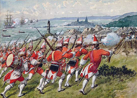 58th Foot at the Battle of Ticonderoga on 8th July 1758 in the French and Indian War: picture by Richard Simkin