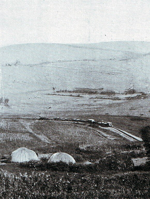 Photograph showing the railway to Elandslaagte and the hills where the battle took place on 21st October 1899 in the Great Boer War