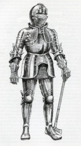 Armoured knight: Battle of Blore Heath, fought on 23rd September 1459 in the Wars of the Roses