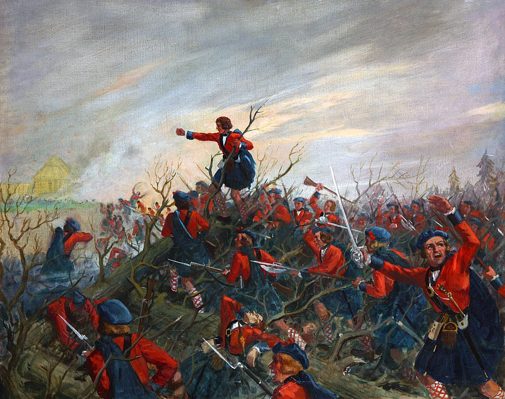 Black Watch, the 42nd Highlanders at the Battle of Ticonderoga on 8th July 1758 in the French and Indian War