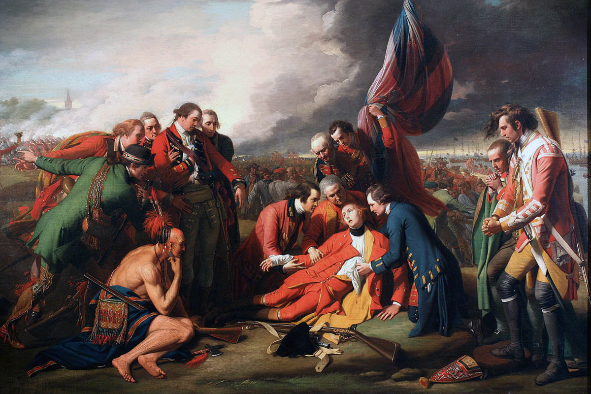 Death of General Wolfe at the Battle of Quebec 13th September 1759 in the French and Indian War or the Seven Years War: picture by Benjamin West