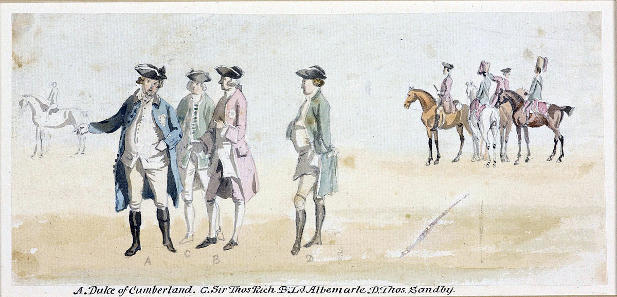Duke of Cumberland, Sir Robert Rich and Lord Albemarle watching one of the Duke's horses in training. The artist Thomas Sandby is on the right: picture by Thomas Sandby
