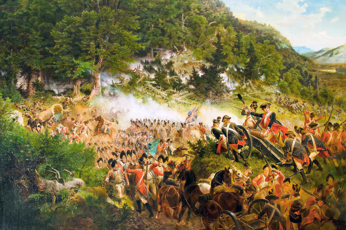 "Emanuel Leutze's ""Washington at the Battle of the Monongahela."" The British troops portrayed are wearing Revolutionary War uniforms: Death of General Edward Braddock on the Monongahela River on 9th July 1755 in the French and Indian War"