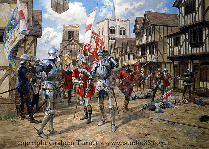 First Battle of St Albans, fought on 22nd May 1455 in the Wars of the Roses: picture by Graham Turner