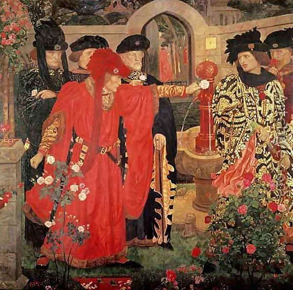 Yorkists and Lancastrians taking white and red roses in the Inner Temple Garden: First Battle of St Albans, fought on 22nd May 1455 in the Wars of the Roses: allegorical picture from William Shakespeare by Henry Arthur Payne