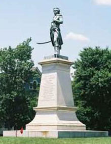 Statue of Hugh Mercer at Fredericksburg, Virginia: Battle of Princeton 3rd January 1777 in the American Revolutionary War