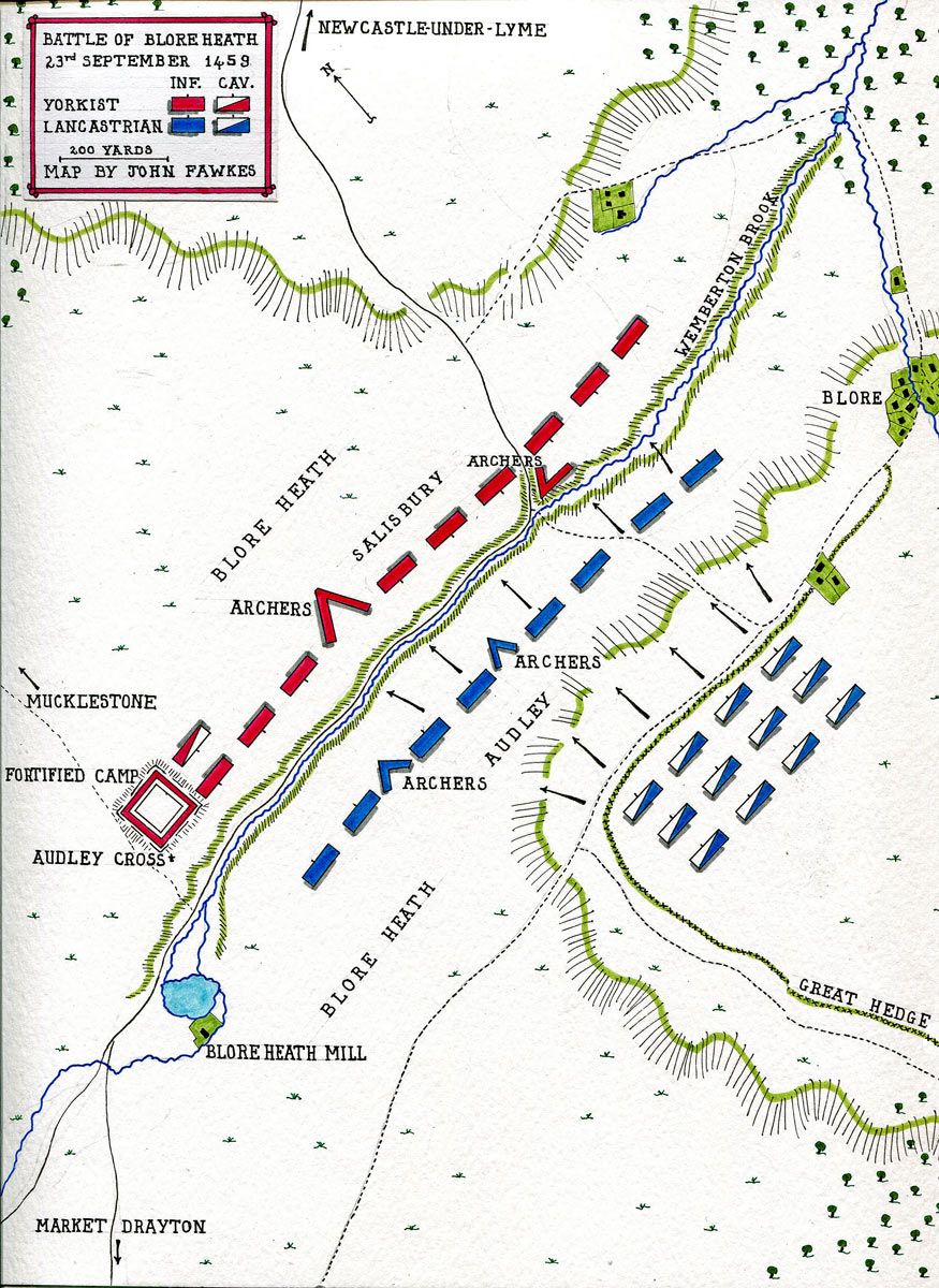 Map of the Battle of Blore Heath, fought on 23rd September 1459 in the Wars of the Roses: map by John Fawkes