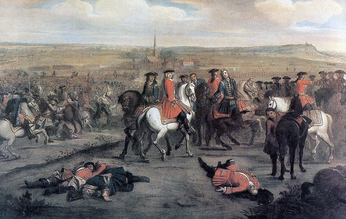 Duke of Marlborough and his staff at the Battle of Ramillies 12th May 1706  in the
