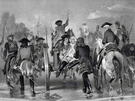 Mortally wounded, General Edward Braddock is carried back from the Monongahela to Great Meadows Camp where he died on 12th July 1755: picture by Alonzo Chappel
