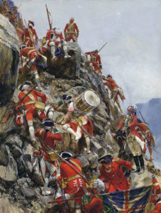 General Wolfe and his troops climbing the Heights of Abraham at the Battle of Quebec 13th September 1759 in the French and Indian War or the Seven Years War: picture by Richard Caton Woodville