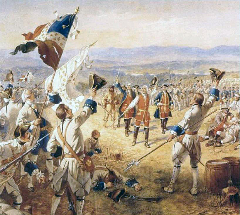 Marquis de Montcalm and French troops celebrating their victory at the Battle of Ticonderoga on 8th July 1758 in the French and Indian War