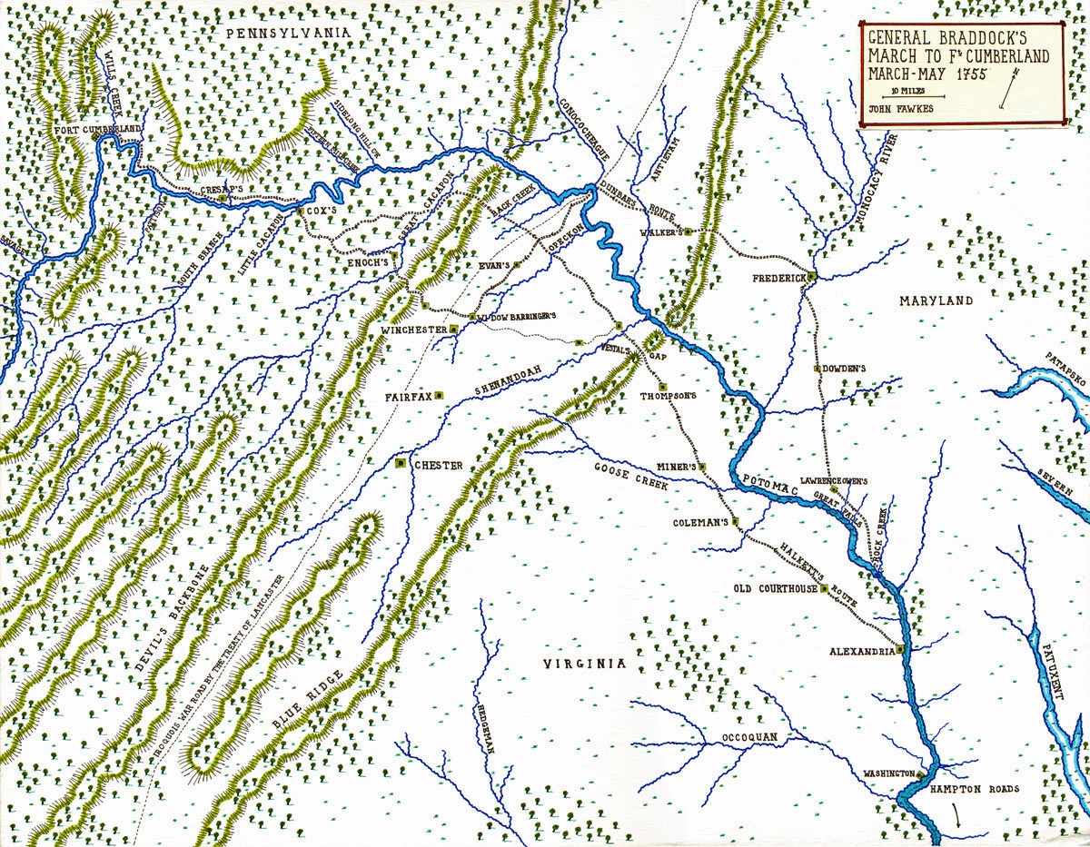 General Braddock's March to Fort Cumberland through the Northern Neck of Virginia and through Maryland - March - May 1755 - Map by John Fawkes