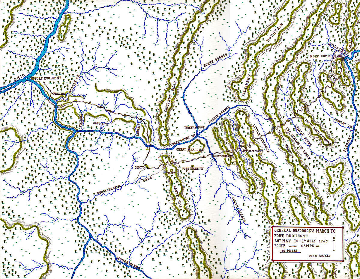 General Braddock's March to Fort Duquesne 29th May - 9th July 1755 - Map by John Fawkes