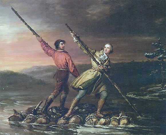 George Washington and Christopher Gist returning from their mission to Fort LeBoeuf on a raft down the Allegheny River in January 1754 (Gist at the back): picture by Daniel Huntington: Death of General Edward Braddock on the Monongahela River on 9th July 1755 in the French and Indian War