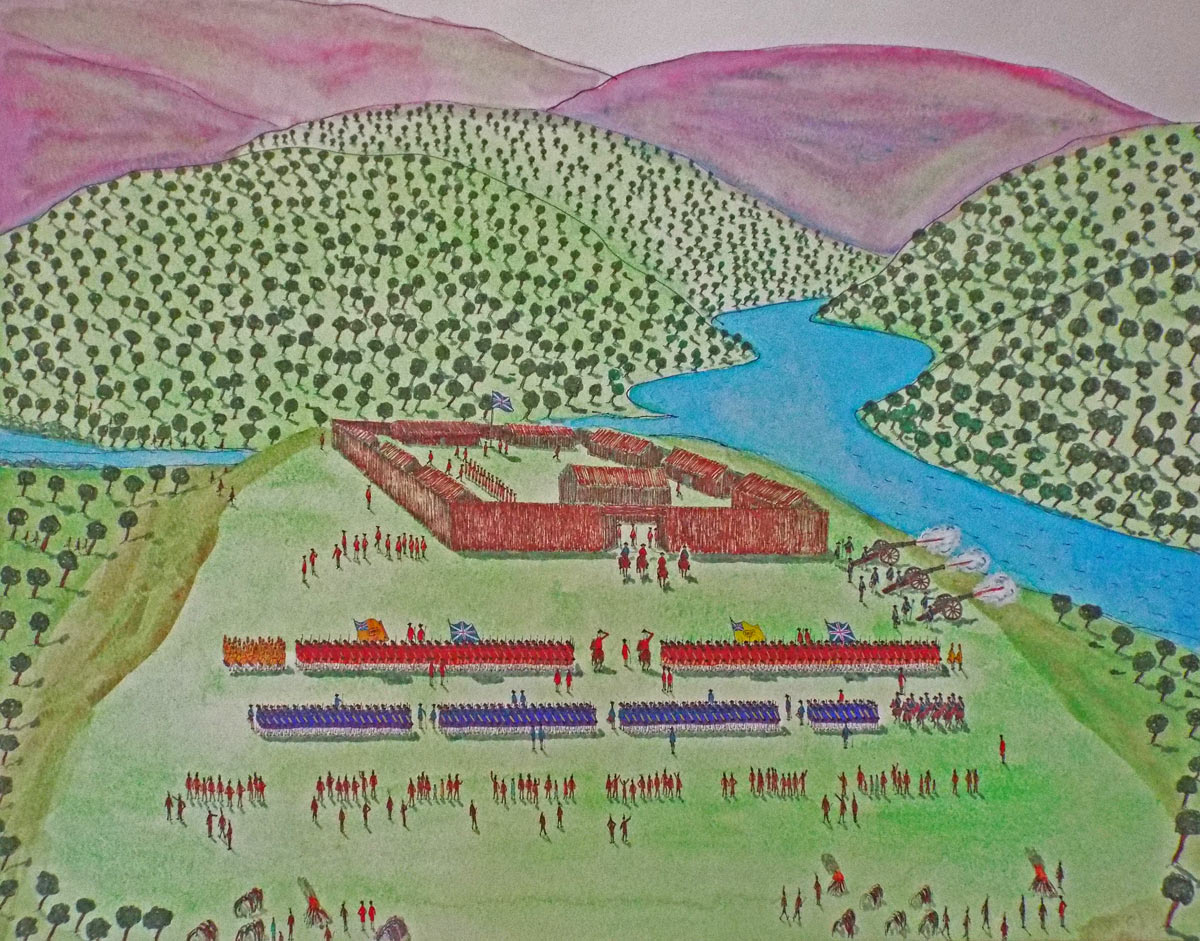 Fort Cumberland May 1755: General Braddock reviews the 44th and 48th Regiments, the Royal Artillery, the Virginia Light Horse and the Virginia Rangers: by John Fawkes: Death of General Edward Braddock on the Monongahela River on 9th July 1755 in the French and Indian War