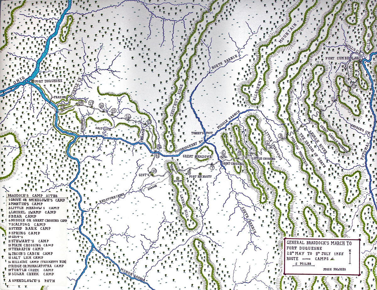 Map of General Braddock's march from Fort Cumberland to Fort Duquesne on the Monongahela River, May to July 1755, showing A Spendlow's Path and camps at 1 Grove 2 Martin's 3 Little Meadows 4 Laurel 5 Bear 6 Great Crossing 7 Scalping 8 Steep Bank 9 Spring 10 Gist's 11 Stewart's 12 Main Crossing 13 Terrapin 14 Jacob's 15 Salt Lick 16 Hillside 17 Ride 18 Turtle 19 Sugar: Map by John Fawkes