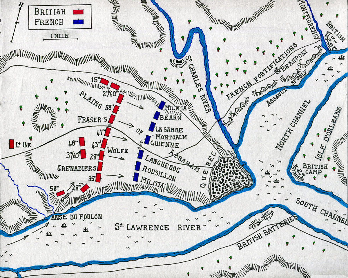 Map of the Battle of Quebec 13th September 1759 in the French and Indian War or the Seven Years War: map by John Fawkes