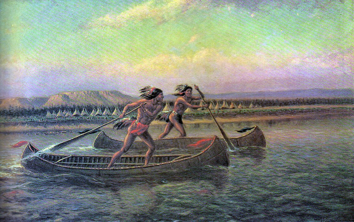 Indian canoes: Death of General Edward Braddock on the Monongahela River on 9th July 1755 in the French and Indian War