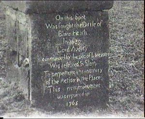 Inscription on the Audley Cross: erected near the place of Lord Audley's death: Battle of Blore Heath, fought on 23rd September 1459 in the Wars of the Roses