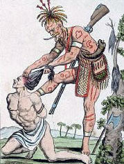 Iroquois Indian scalping a prisoner: Death of General Edward Braddock on the Monongahela River on 9th July 1755 in the French and Indian War