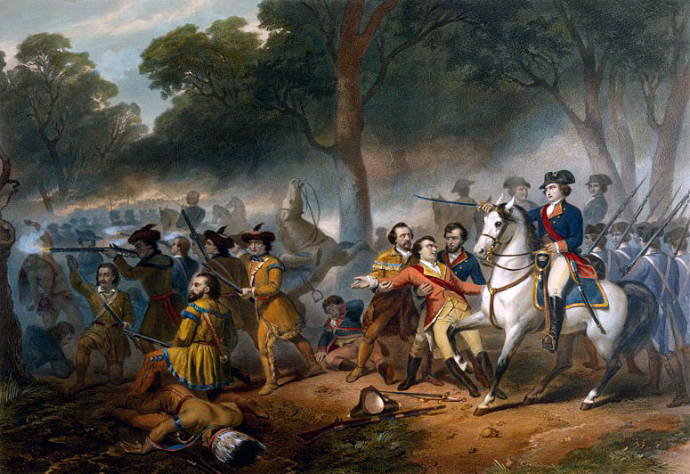 Idealised post US Independence picture 'Washington at the Battle of the Monongahela'. No British officer or soldiers are shown, other than the wounded General Braddock: Death of General Edward Braddock on the Monongahela River on 9th July 1755 in the French and Indian War