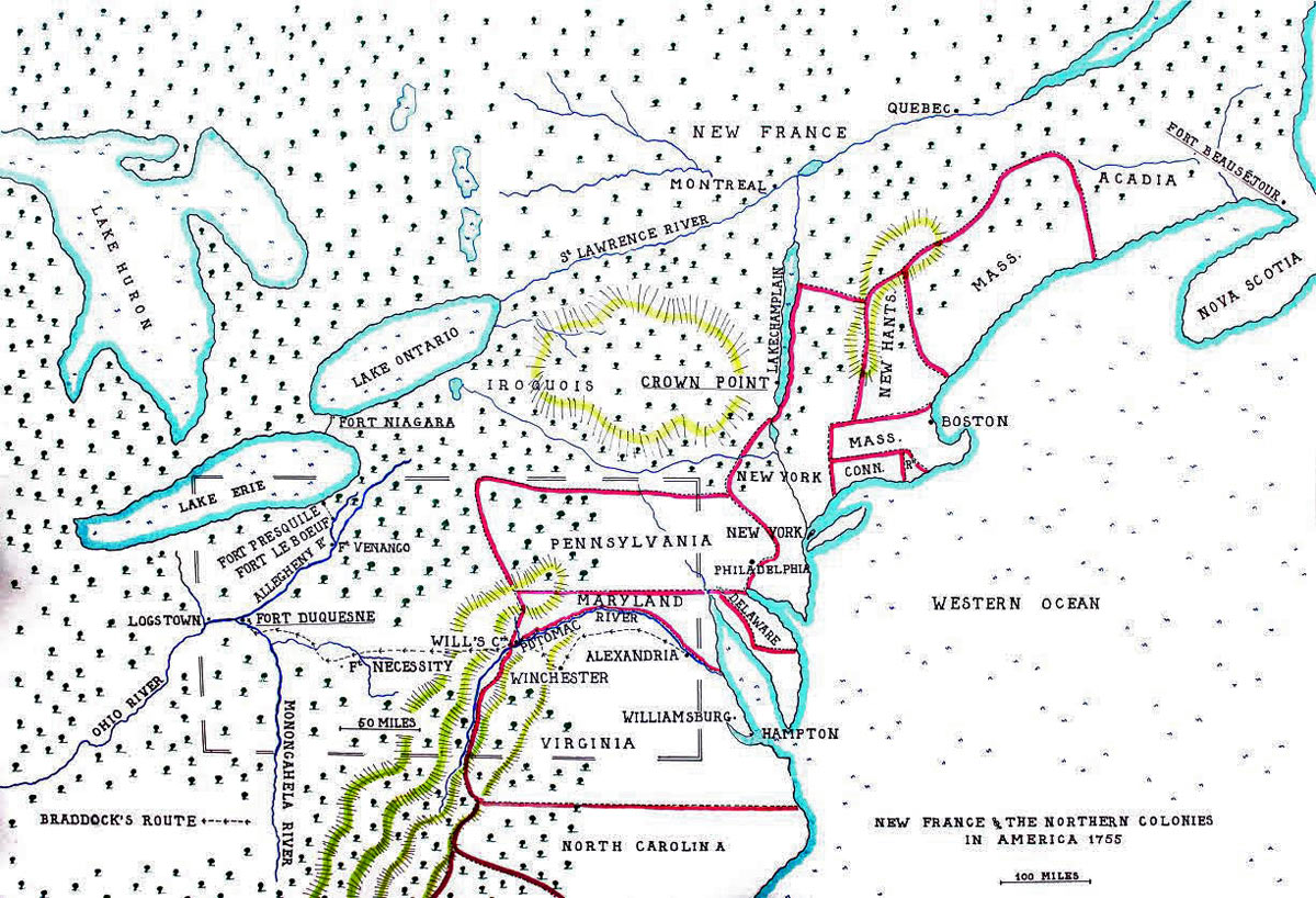 Map of the North American Colonies in 1755 showing the four intended targets for the British offensive operation: Fort Duquesne, Fort Niagara, Crown Point and Fort Beauséjour: map by John Fawkes: Death of General Edward Braddock on the Monongahela River on 9th July 1755 in the French and Indian War