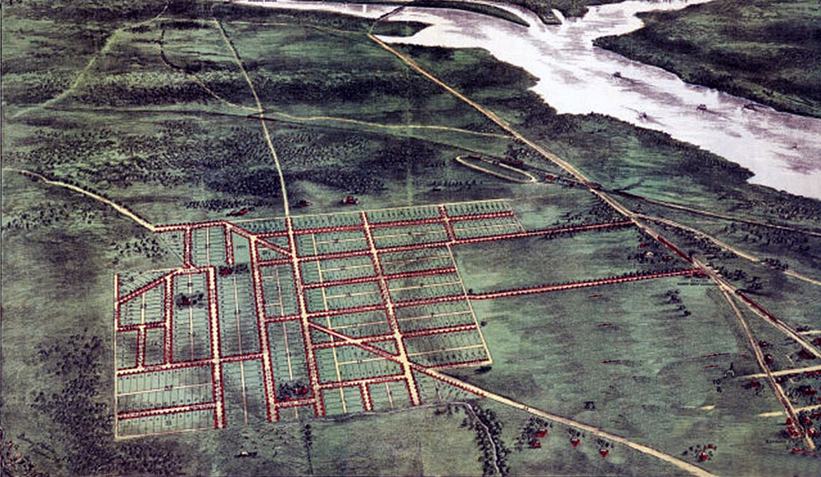 Layout of Alexandria in Virginia, before building began: Death of General Edward Braddock on the Monongahela River on 9th July 1755 in the French and Indian War