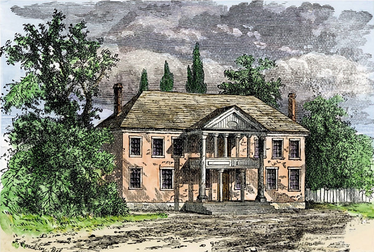 Governor's Mansion at Williamsburg: Death of General Edward Braddock on the Monongahela River on 9th July 1755 in the French and Indian War