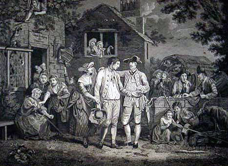 British army recruiting sergeant at work: Death of General Edward Braddock on the Monongahela River on 9th July 1755 in the French and Indian War