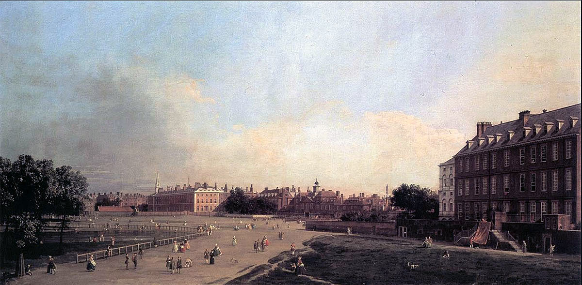 St James's Park: picture by Canaletto, showing Foot Guards parading outside the Horse Guards: Death of General Edward Braddock on the Monongahela River on 9th July 1755 in the French and Indian War