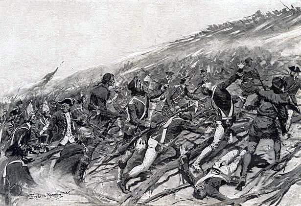 British attack at the Battle of Ticonderoga on 8th July 1758 in the French and Indian War