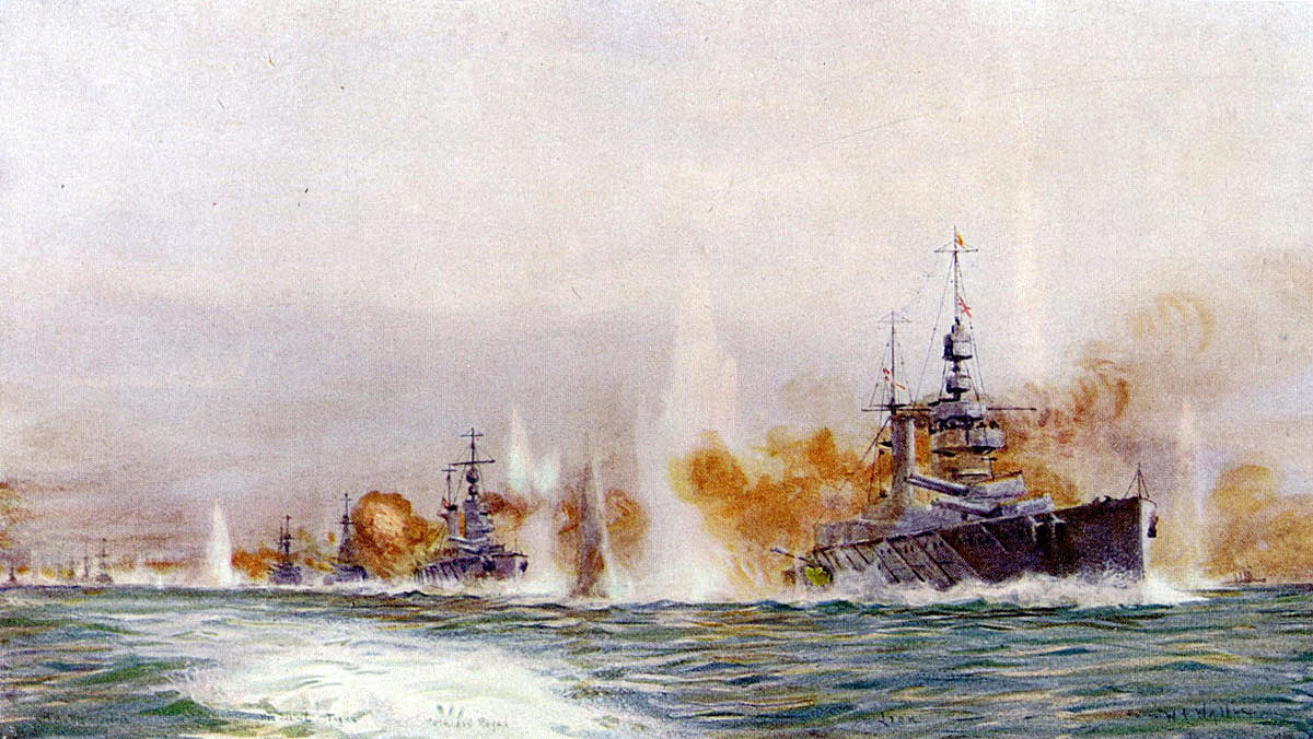 British Battle Cruisers opening fire in the opening stages of the Battle of Jutland on 31st May 1916: from the right HMS Lion Princess Royal Tiger Queen Mary New Zealand and Indefatigable: picture by Lionel Wyllie