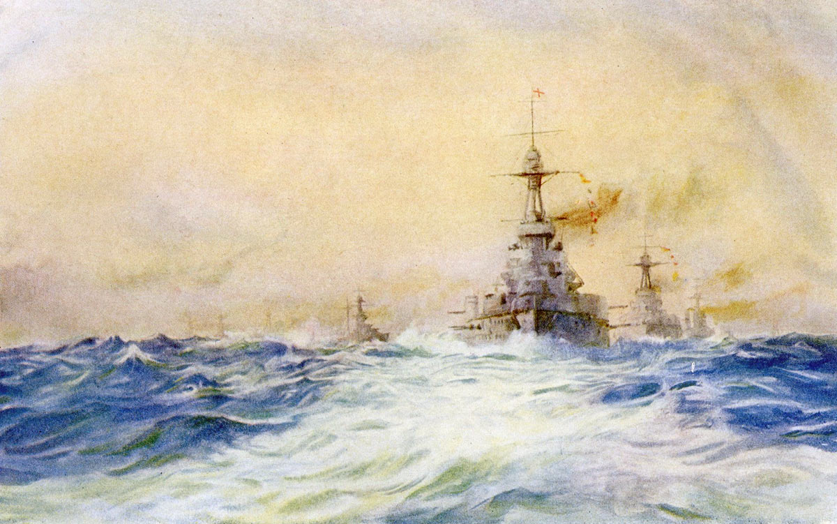 British Battleships led by HMS Iron Duke Flagship of the Grand Fleet at Battle of Jutland 31st May 1916: picture by Lionel Wyllie