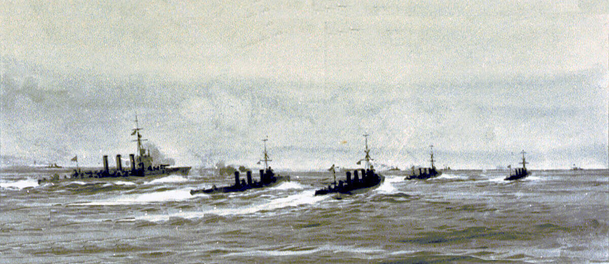 British light cruiser HMS Undaunted and the four destroyers Lance, Lennox, Legion and Loyal sight the four German torpedo boats at the beginning of the Texel action on 17th October 1914 in the First World War: picture by Lionel Wyllie