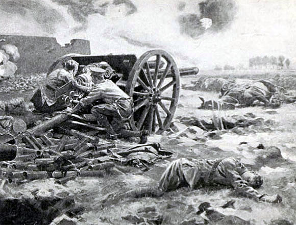 Last gun in action of L Battery, RHA: Battle of Néry on 1st September 1914 in the First World War