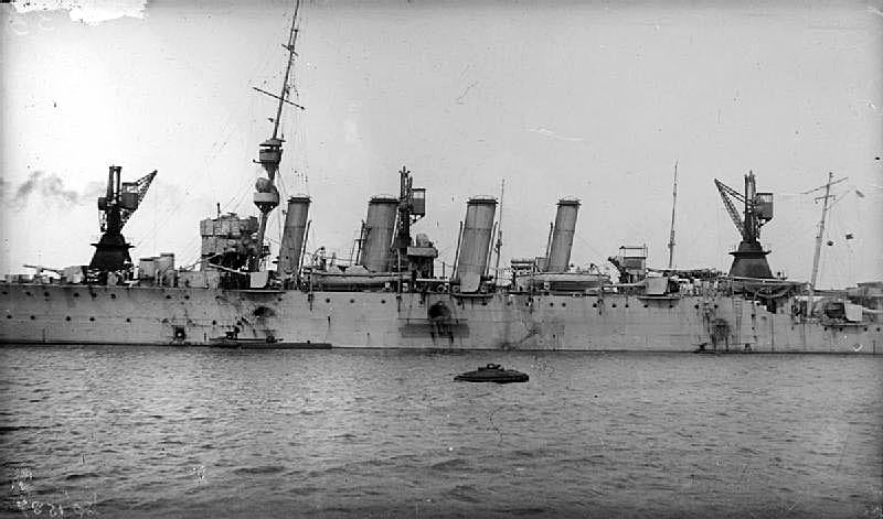 British Light Cruiser HMS Chester showing the damage she suffered in the Battle of Jutland 31st May 1916 (see Battle of Jutland Part II). First Class Boy Jack Cornwell received a posthumous Victoria Cross for his conduct