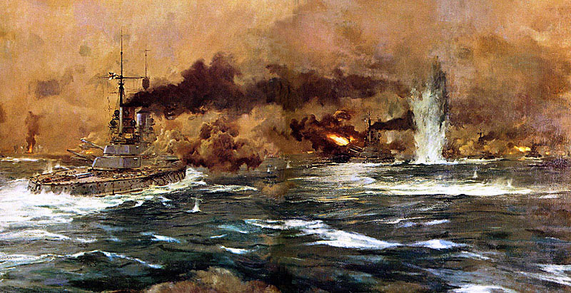German Battleships steaming into action at the Battle of Jutland 31st May 1916: picture by Claus Bergen